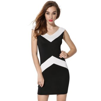Cyber Finejo Fashion Women Sleeveless Black White Patchwork V-neck Summer Party Dress - Intl