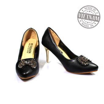 Giày cao gót 7p nơ đá sang trọng cao cấp màu đen NT FASHION 139705