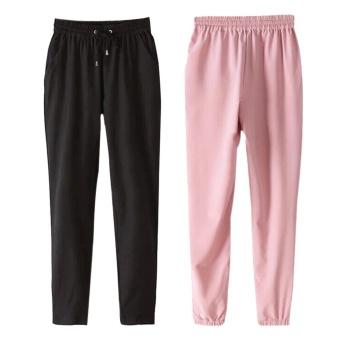 2 pcs Women's Elastic Waist Casual Jogger Harem Pants Trousers Black and Pink Size S - intl