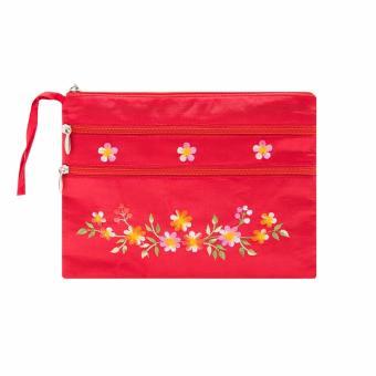 Ví cầm tay 3 khóa Hoian Gifts vải lụa thêu hoa (đỏ tươi) HA-50M