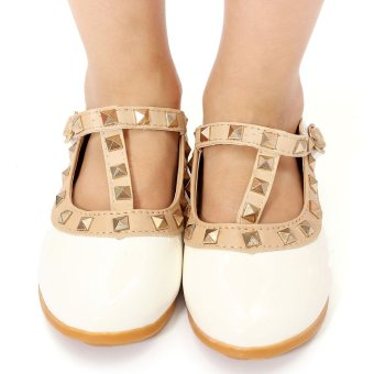Kids Girls Toddler Sandals Buckle Princess Rivet T-strap Flats Pointed Toe Shoes White - intl