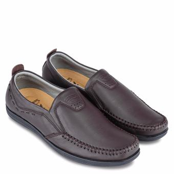 Giày mọi nam da bò SunPoLo LS3026N (Nâu)