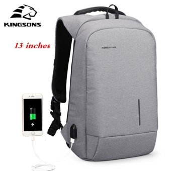 Kingsons 13'' External USB Charging Backpacks School Backpack Bag Laptop Computer Bags Men's Women's Travel Bags Business Bags (Grey) - intl