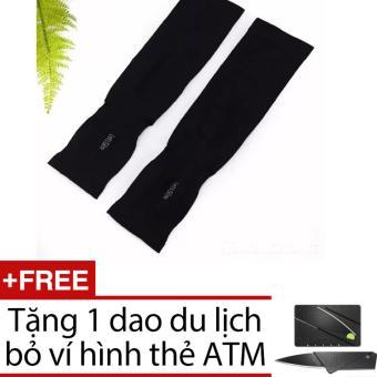 Găng tay chống nắng xỏ ngón Aqua-X Let's Slim (Đen) + Tặng 1 dao du lịch hình thẻ ATM