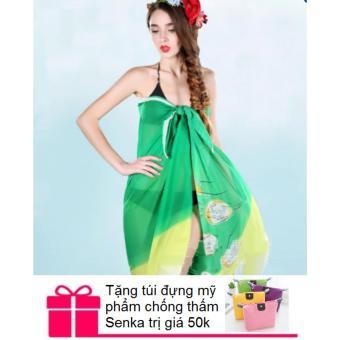 Khăn choàng / sarong đi biển + Tặng túi đựng mỹ phẩm