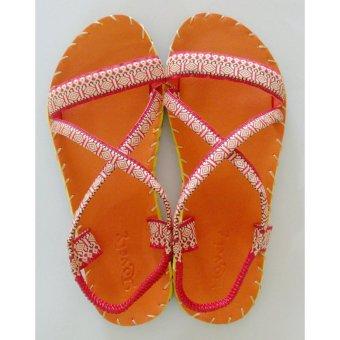 Sandal Thổ Cẩm Nữ Quai Ngang (Cam)