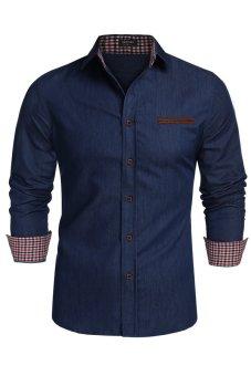 Cyber Men Shirt 2015 Brand Denim Shirt Men Chemise Homme Casual Shirts Long Sleeve Fashion Slim Fit Mens Jeans Shirts Camisa ( Dark Blue ) - intl