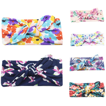 Rabbit Ears Elastic Hair Bands Flowers Bowknot Headband - intl