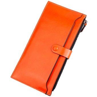 Leather Zipper Purse Ultra-thin Multifunctional Wallet Orange