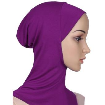 Women Muslim Modal Soft Flexible Head Neck Wrap Cover Inner Hijab Cap Hat Purple (Intl)