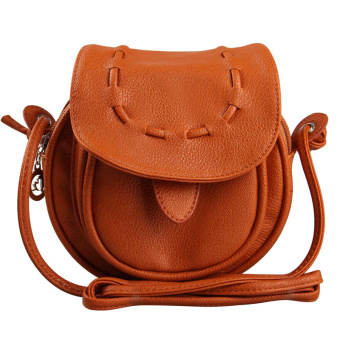 New Fashion Women Mini Shoulder Bag PU Leather Messenger Crossbody Bag Drawstring Handbag Brown (Intl)