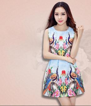 Đầm xòe họa tiết con công cổ trụ hót nhất | Đầm xòe đẹp