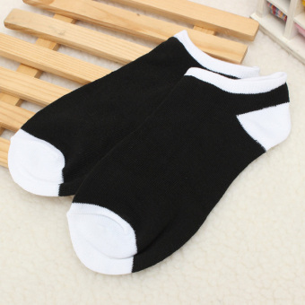 6 Pairs Men Soft Liner Cotton Sports Short Striped Socks Ankle Calf Toe Hosiery Black - Intl