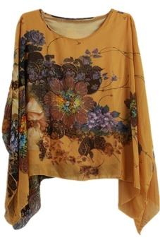 Lalang Boho Floral Loose Tops Yellow - intl