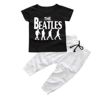1Set Kids Baby Boy T-shirt Tops+Long Pants Black - intl