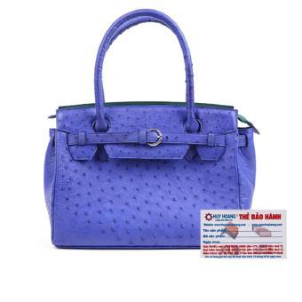 HL6405 - Túi xách Huy Hoàng da đà điểu màu xanh dương