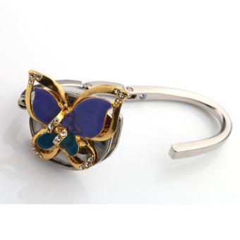 BolehDeals Foldable 3D Butterfly Rhinestone Purse Bag Hanger Handbag Hook Holder Blue - Intl