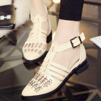 Giày sandal nữ cutout cá tính S034K (Kem)