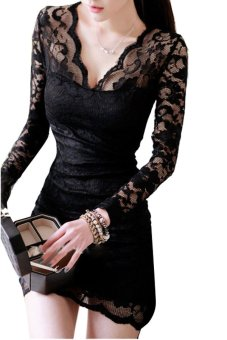Cyber V-neck Long Sleeve Lace Mini Dress Black - intl