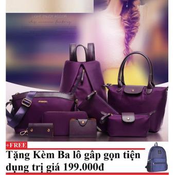 Túi xách, ví và balo 8 mẫu dành cho nữ CHODEAL24H (tím) + Tặng kèm balo du lịch gấp gọn