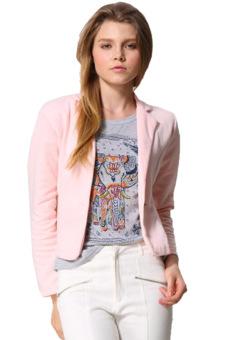 Sunweb Women OL Coat Lapel One Button Long Sleeve Short Suit Blazer Jackets Coats(Pink) - Intl