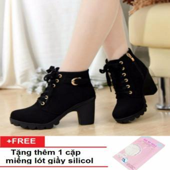 Giày boots nữ cao cấp + tặng thêm 1 cặp lót giày silicon