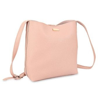 2pcs PU Leather Pure Color Multifunctional Strap Women Bucket Bag for Women - intl