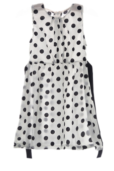 LALANG Children Girls Polka Dot Chiffion Bowknot Belt Dresses 130cm White - Intl