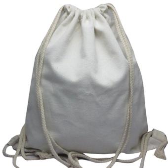 Unisex Backpacks Solid Bags Drawstring Backpack White - intl