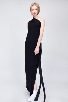 Đầm One Shoulder Long Black - S16V011