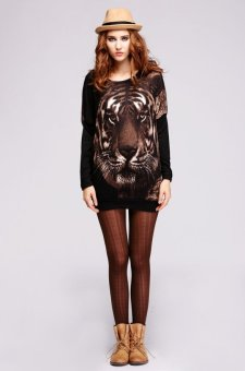 Sunweb Embroidered Tiger Head Pullovers Sweater Top (Black) - Intl