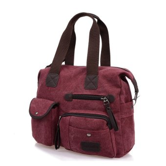Men Women Vintage Canvas Bag Shoulder Messenger Handbag Purple - intl