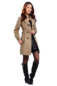Bluelans Womens Slim Fit Trench Double-breasted Coat Jacket Outwear Khaki (Intl)