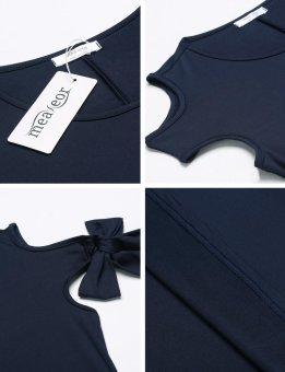 Linematr Women Casual Bandage Sleeve Solid Off Shoulder Pleated Asymmetrical Hem Maxi Dress ( Navy Blue ) - intl