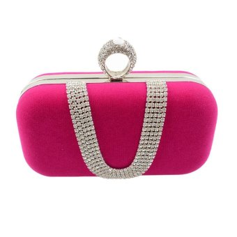 niceEshop Womens Velvet Rhinestone Evening Cocktail Clutch Bags With One Ring Hot Pink - intl