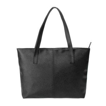 Fashion Women Korean Handbag PU Leather Shoulder Bag Shopping Bag(Black) - intl
