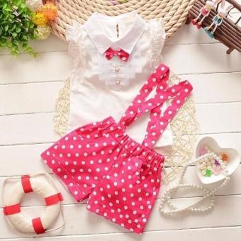 Kids Girls Bow Shirt Top Floral Polka Dot Strap Shorts Set Clothing Hot pink - intl
