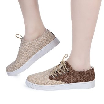 Male Flax Patchwork Lace Up Casual Breathable Canvas Shoes (Chocolate) - intl