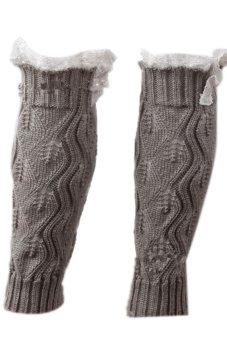Lalang Knitted Socks Leg Warmers Light Grey - intl