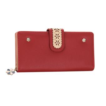 New Korean Women Long PU Leather Clutch Wallet Floral Ladies Card Holder - intl