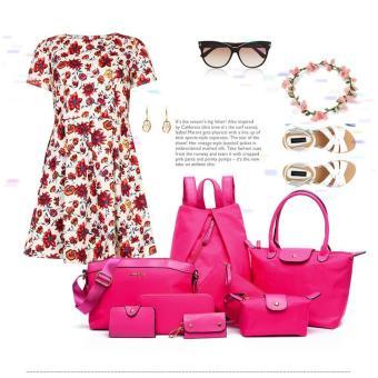 Bộ 8 balo, túi xách và ví thời trang Làm Đẹp (hồng)