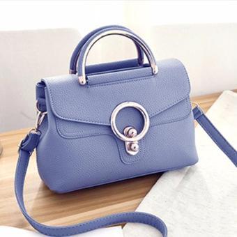 Túi xách nữ đeo chéo khóa tròn cao cấp (xanh nhạt)