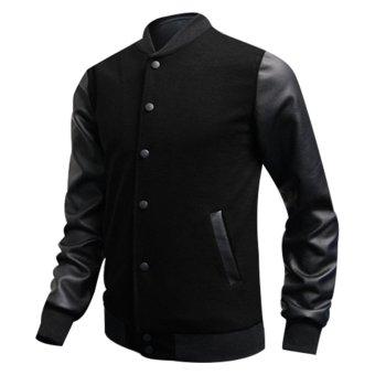 Fashion Men PU Leather Collar Sweater BLACK - intl