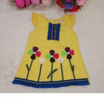 Đầm thêu hoa dễ thương cho bé gái (Vàng)