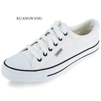 KUANGWANG Casual Lace Up Canvas Shoes(White) - intl