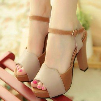 Giày cao gót h.q phối màu quý phái CG1015 (Kem)