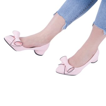 Fashionable Pointed Toe Bowknot PU Leather Low Heel Shoes(Pink) - intl
