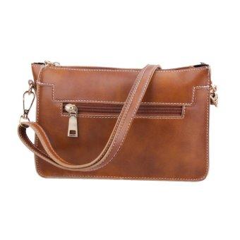 New Retro PU Leather Women Shoulder Bag Zipper Vintage Girls Crossbody Bag - intl