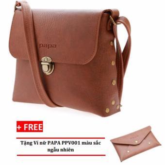 Túi đeo chéo nữ PAPA PPT003 (Bò Đậm) + Ví nữ PAPA PPV001