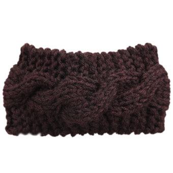 Women Crochet Turban Ear Warmer Hair Band Knit Knitted Hairwrap Coffee (Intl)